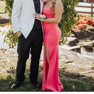 Hot Pink Prom Dress with Leg Slit Backless